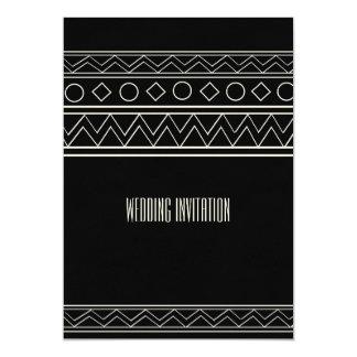 アフリカデザインの黒くか白い結婚式招待状カード カード