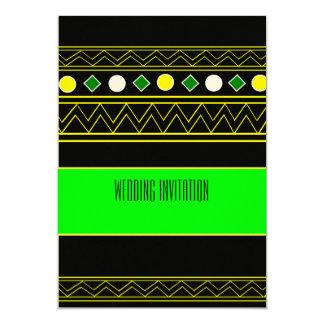 アフリカデザインネオン緑またはblkの結婚式招待状カード カード