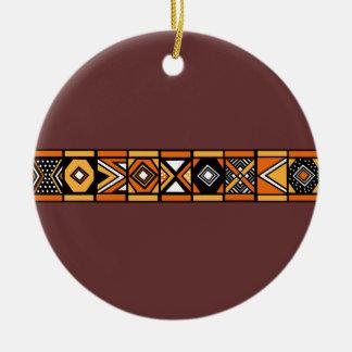 アフリカパターン茶色のオーナメント セラミックオーナメント