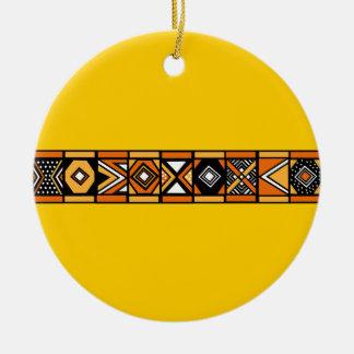 アフリカパターン黄色のオーナメント セラミックオーナメント