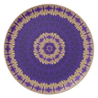 アフリカ人のBohoのコレクションの深いの青 プレート