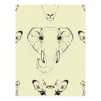 アフリカ動物の頭部 ポストカード