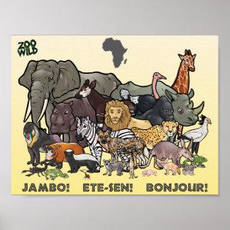 アフリカ動物ポスター ポスター