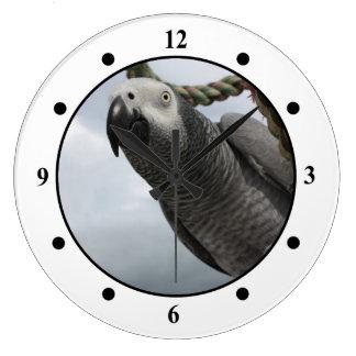 アフリカ灰色のオウムのクローズアップの柱時計 ラージ壁時計