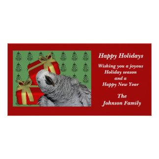 アフリカ灰色のオウムの動物のクリスマスの休日カード カード