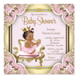 アフリカ系アメリカ人のプリンセスのベビーシャワーの招待状 カード