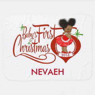 アフリカ系アメリカ人のベビーの初めてのクリスマス毛布 ベビー ブランケット