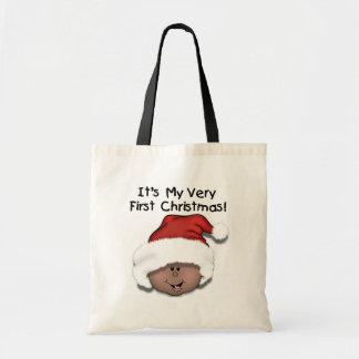 アフリカ系アメリカ人のベビーの第1クリスマス トートバッグ