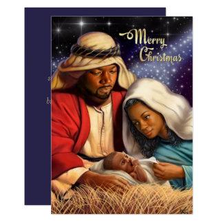アフリカ系アメリカ人の出生の芸術の平らなクリスマスカード 12.7 X 17.8 インビテーションカード