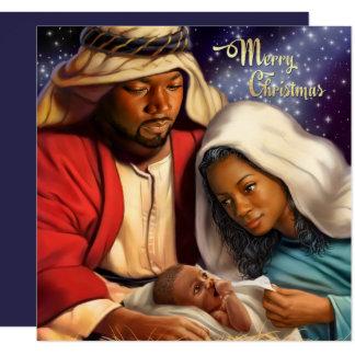 アフリカ系アメリカ人の出生の芸術の平らなクリスマスカード 13.3 スクエアインビテーションカード