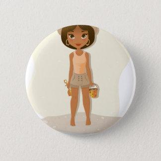 アフリカ系アメリカ人の女の子 5.7CM 丸型バッジ