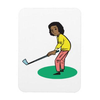 アフリカ系アメリカ人の女性のゴルファー マグネット