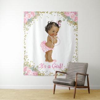 アフリカ系アメリカ人の民族の女の赤ちゃんのシャワーの背景幕 タペストリー
