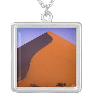 アフリカ、ナミビア、Namib NP、Sossusvleiの砂 シルバープレートネックレス