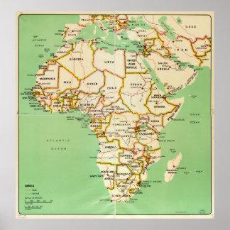 アフリカ(1966年)の地図 ポスター