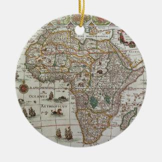 アフリカ、c. 1635年の旧式な旧世界の地図 セラミックオーナメント