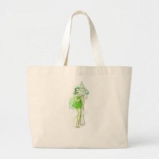 アブサンのスプーンを持つ妖精 ラージトートバッグ