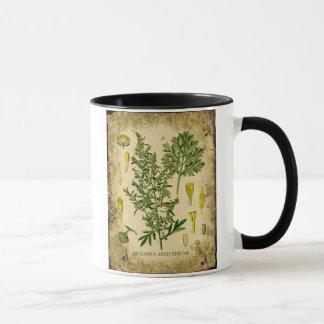 アブサンの植物のコラージュ マグカップ