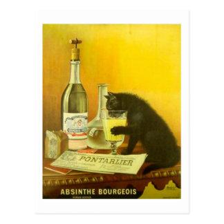 アブサンブルジョアおよび猫の素晴らしいヴィンテージポスター ポストカード