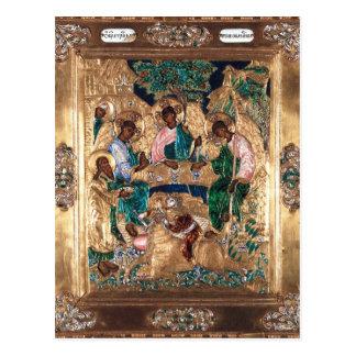 アブラハムおよび3つの天使を描写するアイコン ポストカード