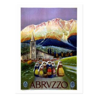 アブルッツォはヴィンテージイタリアンな旅行ポスターを元通りにしました ポストカード