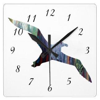 アホウドリ動物のシルエット スクエア壁時計