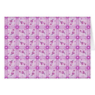 アホロートルのピンクの格子縞パターン カード