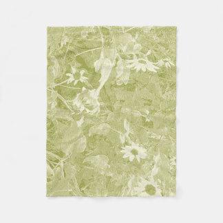 アボカドの緑およびクリームの野生のヒマワリ フリースブランケット