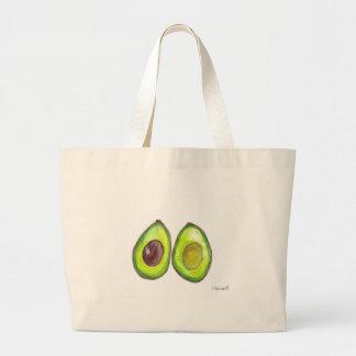 アボカドの緑のフルーツ ラージトートバッグ