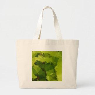 アボカドの緑の抽象芸術の低い多角形の背景 ラージトートバッグ