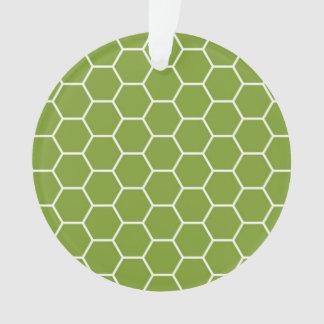 アボカドの緑の蜜蜂の巣の六角形の幾何学的なパターン オーナメント