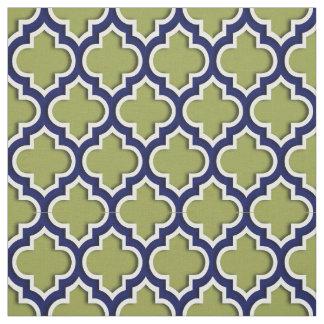 アボカドの緑、濃紺のモロッコのクローバー#5DS ファブリック