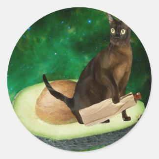 アボカド猫 丸形シール・ステッカー