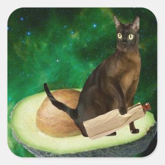 アボカド猫 正方形シールステッカー