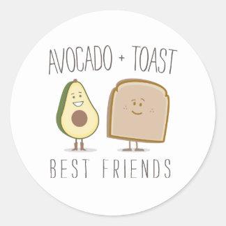 アボカド + トーストの親友のステッカー ラウンドシール