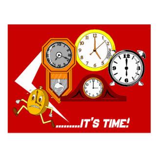 アポイントメントのメモの時計それは時間の郵便はがきです ポストカード