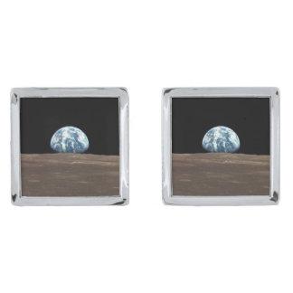アポロ11 EARTHRISE (地球の月の太陽系) シルバー カフスボタン
