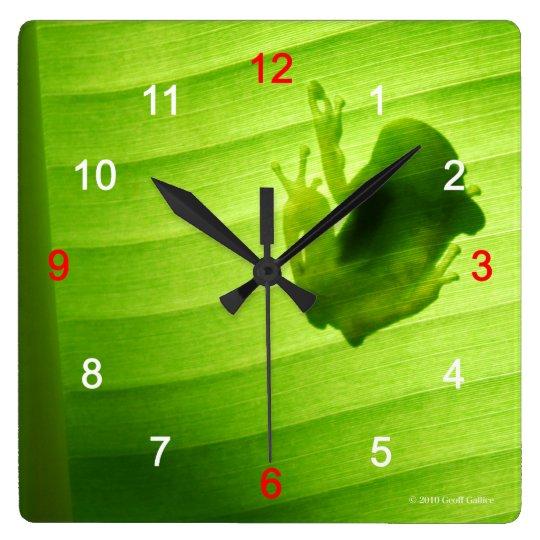 アマガエルのシルエットの壁掛け時計,No.02 スクエア壁時計