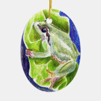 アマガエル-水彩画の鉛筆 セラミックオーナメント