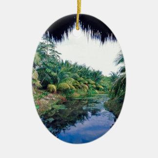 アマゾンジャングルの川の景色 セラミックオーナメント