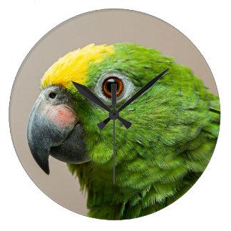 アマゾン黄色い先頭に立たれた緑のオウムが付いている時計 ラージ壁時計