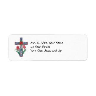 アマリリスおよびポインセチアが付いているクリスマスの十字 ラベル