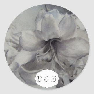 アマリリスの水彩画の花のステッカー ラウンドシール