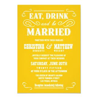 アマリロのこはく色の古い西の結婚式招待状 カード