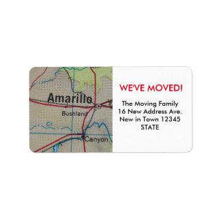 アマリロの引っ越しましたのラベル ラベル