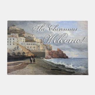 アマルフィの海岸のイタリアのボートの海の歓迎の玄関マット ドアマット