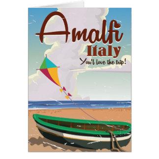 アマルフィの海岸のイタリアのヴィンテージ旅行ポスタープリント カード
