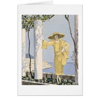 アマルフィの黄色い服の女性のイラストレーション カード