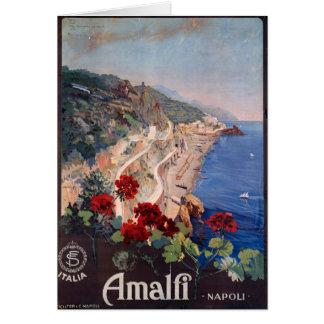 アマルフィNapoliイタリアのヴィンテージイタリアンな旅行ポスター カード