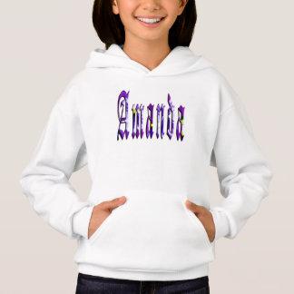 アマンダの名前、ロゴ、女の子のフリースのフード付きスウェットシャツ
